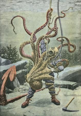 Diver Attacked by an Octopus by French School