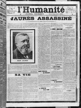Jaures Assassinated, from 'L'Humanite', 1st August 1914 by French School