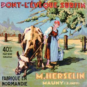 Label for 'Pont-L'Eveque' Cheese Made by the Cheesemaker M. Herselin, Early 20th Century by French School