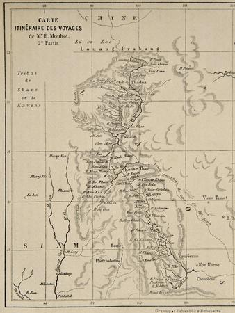 Map of Laos and the Mekong River Showing the Route of the Voyage of Henri Mouhot, Illustration…