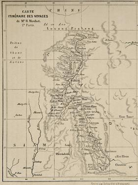 Map of Laos and the Mekong River Showing the Route of the Voyage of Henri Mouhot, Illustration… by French School
