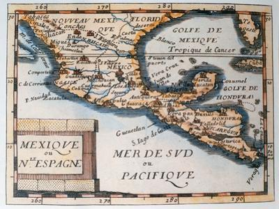 Map of Mexico or New Spain, 1625 by French School