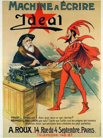 Poster Advertising the 'Ideal' Typewriter
