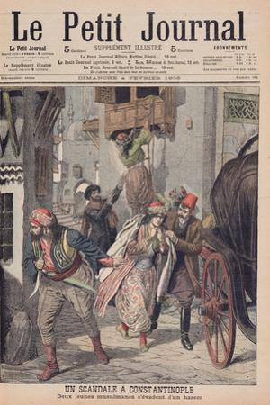 Scandal in Constantinople, Two Young Muslim Ladies Escaping from a Harem, Illustration from 'Le… by French School