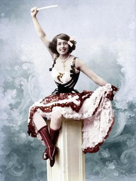 French Singer Jeanne Bourgeois Aka Mistinguett (1875-1956) in, 1902. Colorized Document