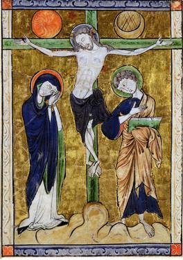 The Crucifixion, from a Psalter, C.1215 (Vellum) by French