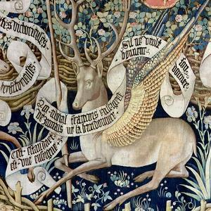 The Winged Deer (Tapestry) (Detail of 95771) by French