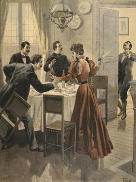 Tragic End to a Lunch, Illustration from 'Le Petit Journal: Supplement Illustre' 18th December 1898 by French
