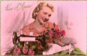 French Woman with Sewing Machine