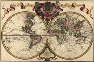 French World Map Shows Nautical Exploration Routes and Political Boundaries, 1720