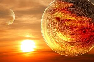 Fantasy Sunset And Maya Calendar by frenta