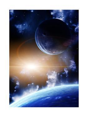 Space Flare. A Beautiful Space Scene With Planets And Nebula by frenta