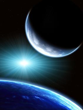 Space Scene with Two Planets by frenta