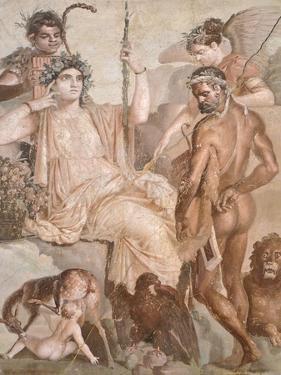 Fresco Depicting Hercules and Telephus, from Basilica of Herculaneum, Campania, 1st Century