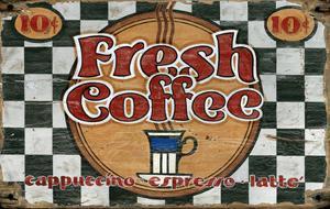 Fresh Coffee Vintage Wood Sign