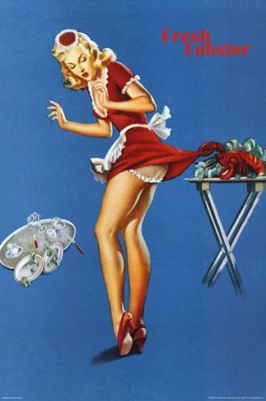 Fresh Lobster Blonde Waitress Pinched Retro Art Print Poster