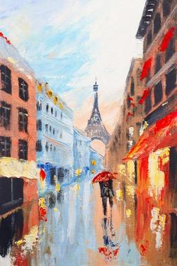 Couple Walking on the Streets of Paris against the Backdrop of the Eiffel Tower, Abstract Oil Paint by Fresh Stock
