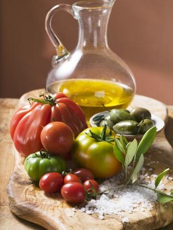 Fresh Tomatoes, Olives, Salt and Olive Oil