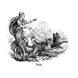 Freya (Frig) Goddess of Love in Scandinavian Mythology, Driving Her Chariot Pulled by Cats