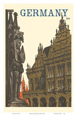 Germany - Bremen Roland Statue and Town Hall by Friedel Dzubas