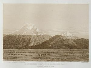 T.1593 Mt. Chimborazo and Mt. Carguairazo, Drawn by Hildebrandt after a Sketch by Humboldt,… by Friedrich Alexander Humboldt