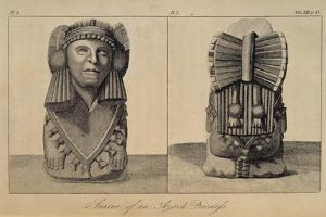 T.1596 Statue of an Aztec Priestess, Front and Back View, from Vol I of 'Researches Concerning… by Friedrich Alexander Humboldt