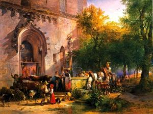 At the Monastery Fountain, 1836 by Friedrich August Matthias Gauermann