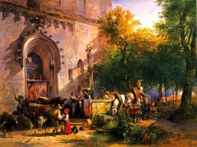 At the Monastery Fountain, 1836 by Friedrich August Matthias Gauermann
