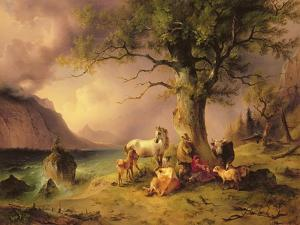 Sheltering from the Storm by Friedrich Gauermann