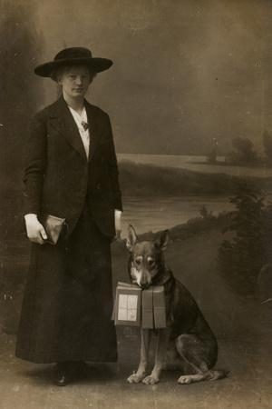 Woman and Dog in Photographer's Studio