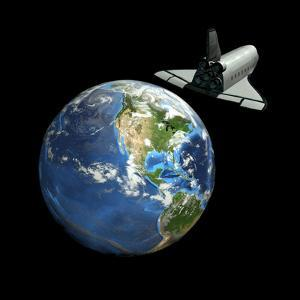 Space Shuttle And Earth by Friedrich Saurer