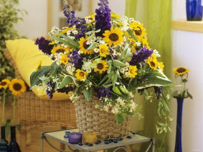 Arrangement of Delphiniums, Sunflowers and Coreopsis