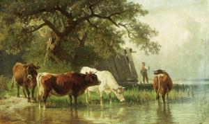 Cattle Watering in a River Landscape, 19th Century by Friedrich Voltz