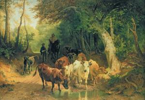 Cattle Watering in a Wooded Landscape by Friedrich Voltz