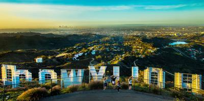 Friends Taking Pictures Behind the Hollywood Sign, City of Los Angeles, Los Angeles County