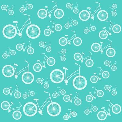 Bicycle White Silhouette Blue Seamless Pattern