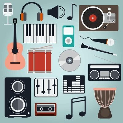 Music Instruments and Gadgets Big Icon Set