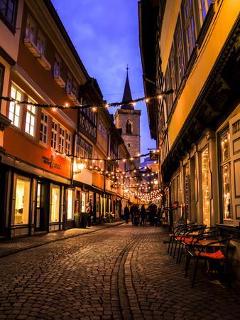 Kr?merbr?cke', View to '?gidienkirche', Erfurt, Evening Mood