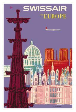 To Europe - Swissair - Switzerland - Cathedrals by Fritz Bühler