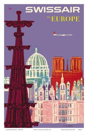 To Europe - Swissair - Switzerland - Cathedrals