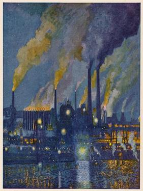 Munitions Factory at Night at the Beginning of World War One by Fritz Gartner