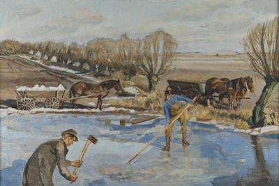 Farmhands fetching Ice, 1927 by Fritz Syberg