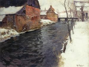 A Winter River Landscape, 1895 by Fritz Thaulow
