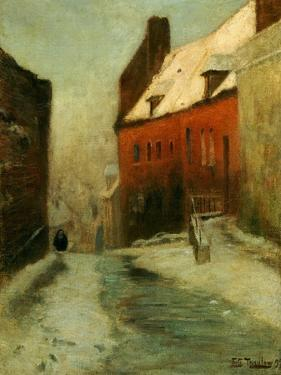 A Winter Street Scene, Montreuil, 1894 by Fritz Thaulow