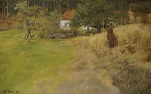 Bauersfrau Bei Der Erntearbeit, 1889 by Fritz Thaulow