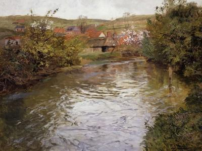 Farmhouses on the Banks of a Stream by Fritz Thaulow