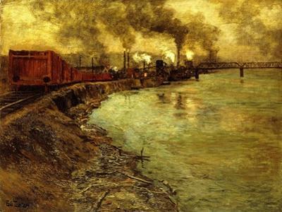 Freight Train, Dusk by Fritz Thaulow