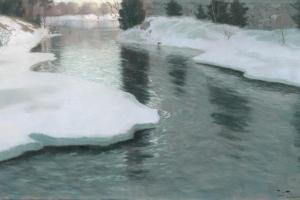 Melting Snow, 1887 by Fritz Thaulow