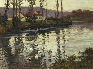 River Landscape with Ducks by Fritz Thaulow