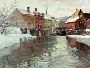 Snow-Covered Buildings by a River by Fritz Thaulow